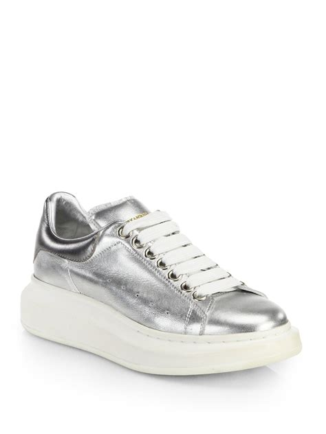 metallic sneakers lyst mcqueen metallic leather platform