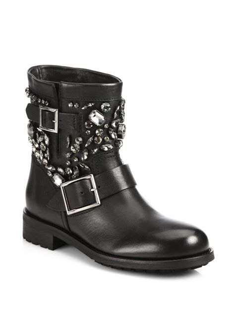 leather biker boots lyst jimmy choo crystal studded leather biker boots in black