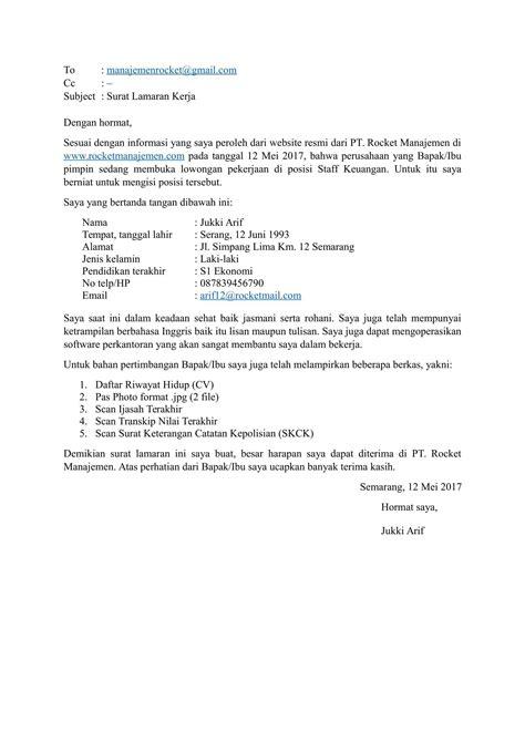 format mengirim surat lamaran kerja lewat email contoh surat lamaran kerja via email