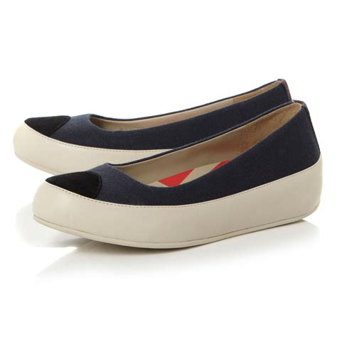 fitflop due canvas flatform canvas ballerina shoes in