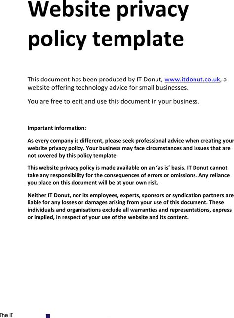 business privacy policy template privacy policy sle free premium templates