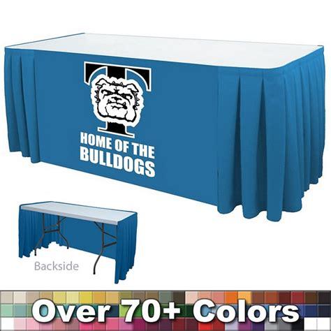 8 ft table skirt customized 8 ft box pleat digital print table skirt open