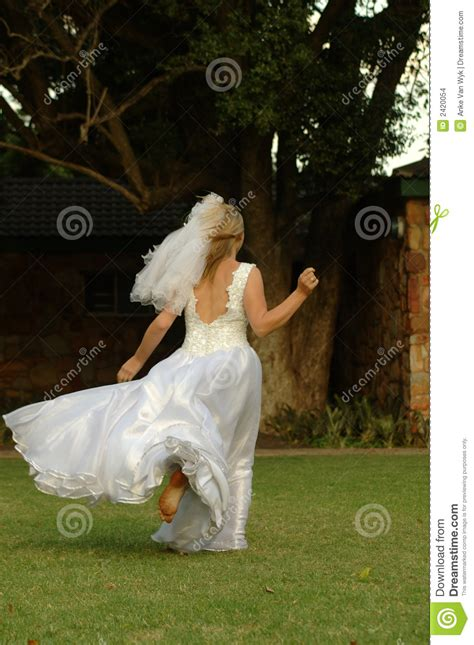 bride running  stock images image
