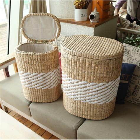 small large home wood wicker rattan storage basket bin