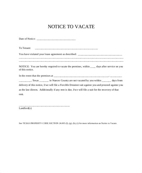 free 30 day notice to vacate template eviction notice 9 free word pdf documents