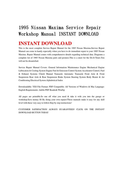 how to download repair manuals 1995 nissan maxima free book repair manuals 1995 nissan maxima service repair workshop manual instant download by 8hsjfnshen issuu