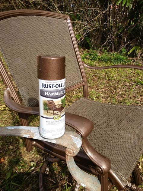 rustoleum hammered metallic spray paint for my upcycled patio set it make it yourself