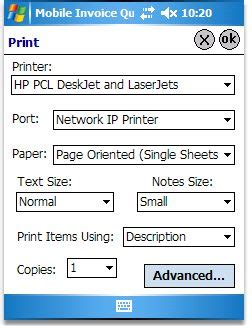 create invoices using a pocket pc
