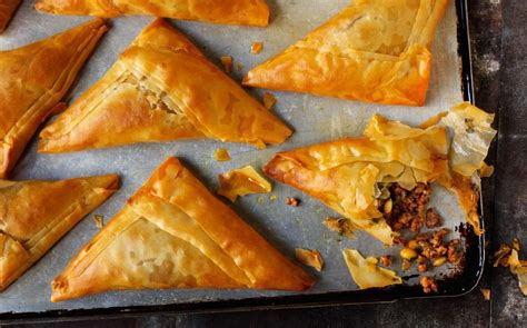 rick steins spiced lamb filo pastries  pine nuts