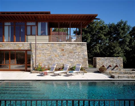 contemporary stone  wood house
