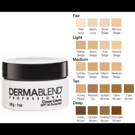 dermablend color chart dermablend professional cover creme fair nwt foundation