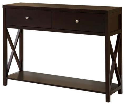 wood console sofa table with drawers cherry console