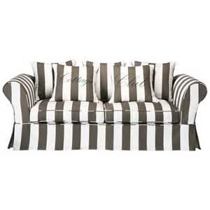 sofa gestreift sofa 3 4 sitzig aus baumwolle grau wei 223 cottage club