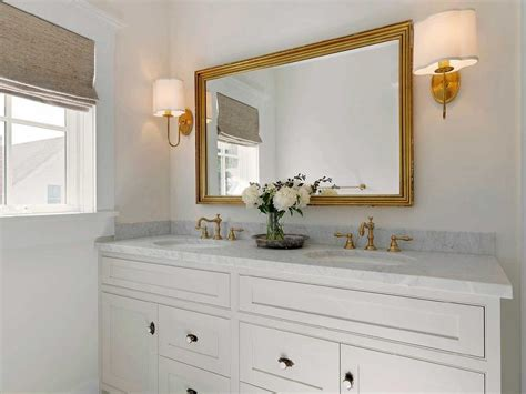 Cottage Bathroom Mirror White Bath Vanity With Gray Marble Counters And Vintage Faucet Kit Transitional Bathroom