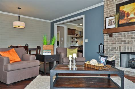 blue accent wall transitional living room birmingham