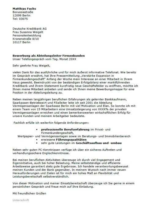 Bewerbung Anschreiben Muster Abteilungsleiter Bewerbung Abteilungsleiter Ungek 252 Ndigt Berufserfahrung Sofort
