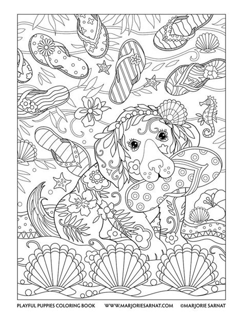 coloring pages of dogs for adults flip flops playful puppies coloring book by marjorie