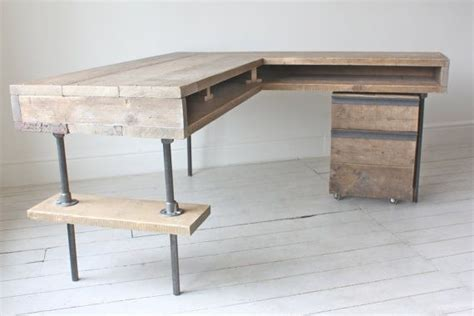 industrial desk l reclaimed scaffolding board industrial chic corner l