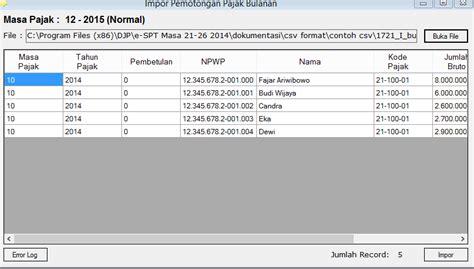 membuat database espt pph badan cara input data data untuk espt pph 21 dengan metode impor csv