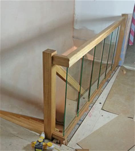 Glass Landing Banister by Houston Oak Staircase Glass Balustrade Design