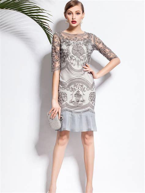 Antibreak Mini 1 2 3 gray floral half sleeve pleated two midi dress