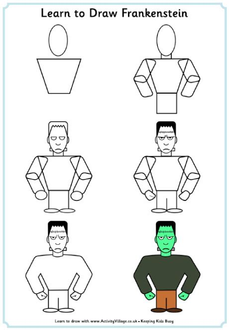 How To Draw Thanksgiving Pictures Learn To Draw Frankenstein