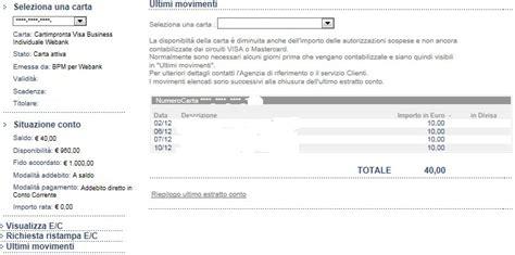 estratto conto intesa carta di credito e conto corrente informazioni sul