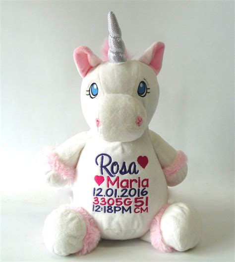 white unicorn birth announcement from my teddy