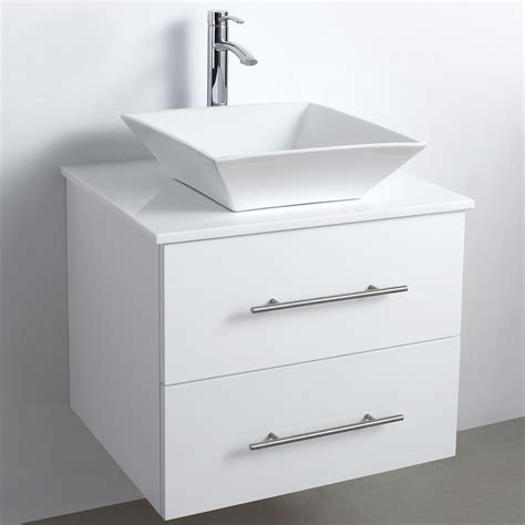 White Vanity Cabinets For Bathrooms 24 Quot Wall Mounted Modern Bathroom Vanity White Free Shipping Modern Bathroom