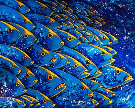acrylic painting fish felix murillo viviendo en aguas azules painting