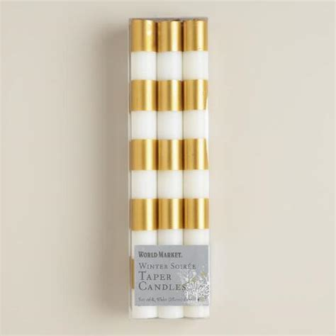 Striped Gold Taper Candles, 6 Pack   World Market