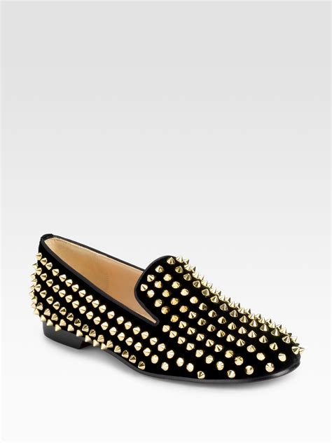 christian louboutin studded loafers christian louboutin rollerball spiked velvet loafers in