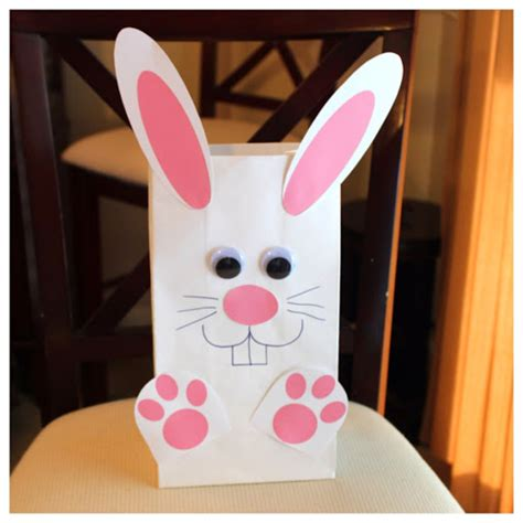 Paper Bag Bunny Craft - hoyby crafts bunny bag template included