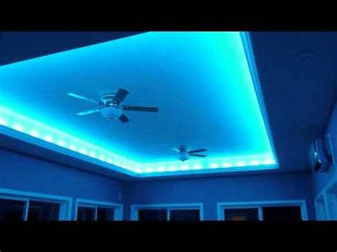 installing crown molding with led lighting installed 4 strings of led crazy lights on the back of the