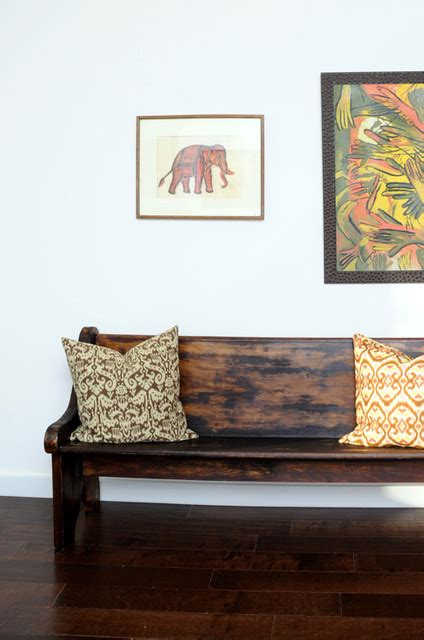 Vintage Living Room Benches Vintage Deacon S Bench Church Pew With Ikat Pillows And