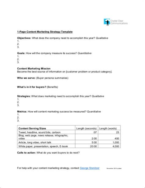 8 Content Marketing Sles Templates Free Pdf Format Download Marketing Plan On A Page Template