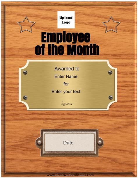 employee of the month certificate template free free custom employee of the month certificate