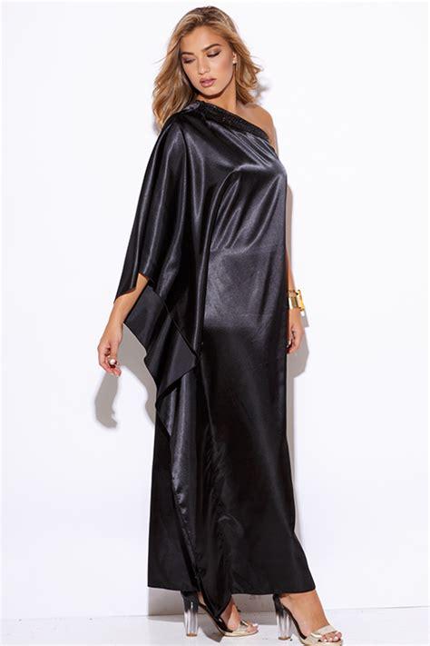Shop black satin bejeweled one shoulder kimono sleeve formal evening party maxi dress