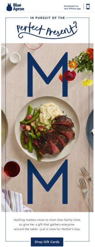 Blue Apron Physical Gift Card - 3 last minute mother s day email caign ideas