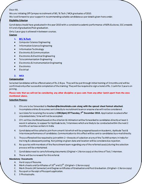 Resume Format Pdf For Mca by Freshers Job Openings