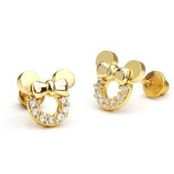 back earrings for toddlers 14k gold plated mouse children screwback baby earrings ebay