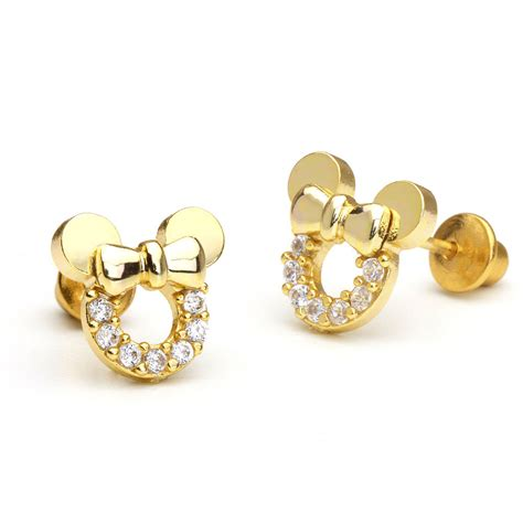 14k gold plated mouse children screwback baby