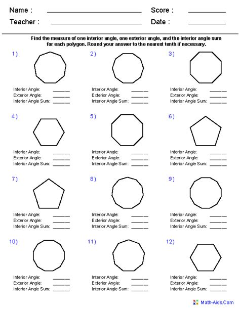 Angles In Polygons Worksheet by Geometry Worksheets Quadrilaterals And Polygons Worksheets
