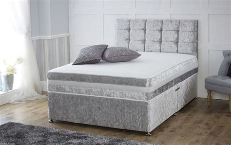 divan bed with headboard crushed velvet divan bed memory mattress headboard 3ft