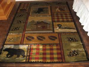 Rustic Cabin Area Rugs Lodge Cabin Rustic Moose Duck Pine Oak Area Rug 5 3 Quot X 7 3 Quot New Ebay