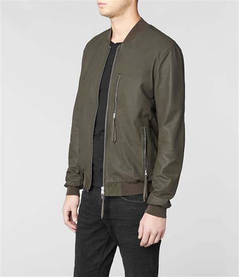Jacket Bomberkeren 11 lyst allsaints sonar leather bomber jacket in green for
