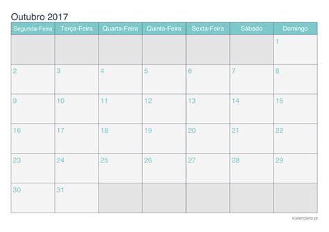 Calendario Do Mes De Outubro De 2017 Calend 225 Outubro 2017 Para Imprimir Icalend 225 Pt