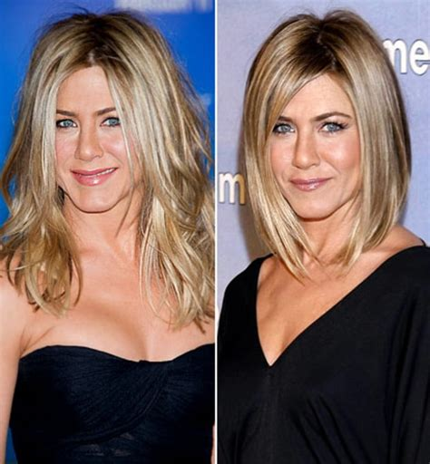 celebrities who cut their hair short before and after pictures jennifer aniston celebs who chopped off their hair us