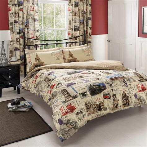 map comforter set world post postcard mail map double duvet cover bedding