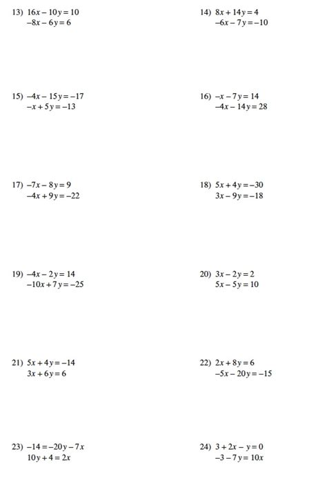 8th Grade Math Review Worksheets by Review Of Systems Equations Worksheets 8th Grade
